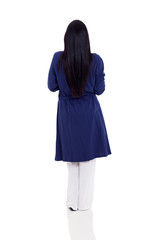 rear view of a woman wearing pajamas