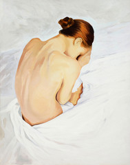 sad crying girl , painting by oil on canvas,  illustration