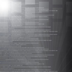 High tech binary number abstract silver background