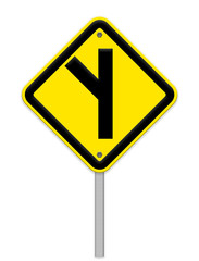 Y fork junction sign