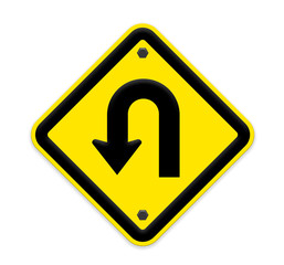 U-Turn  sign with turn symbol isolated on white background ,part