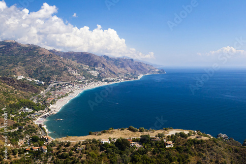 The beautiful green mountain coast on Sicily. Bella italia serie
