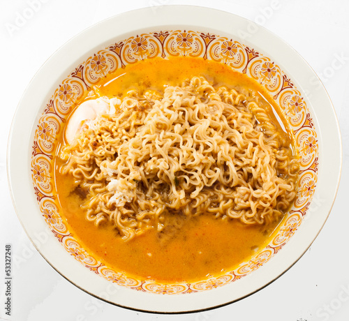 instant noodles with egg Isolated on white.