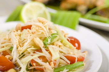 Som Tam  Kai Yang - Green Papaya Salad & BBQ Chicken.