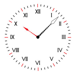 Two-color round clock.