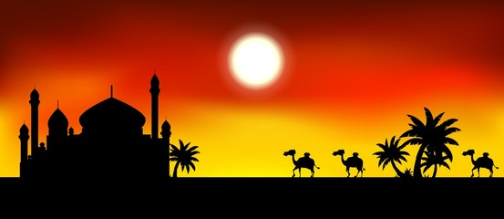 ramadan kareem background with mosque and camel trip silhouette