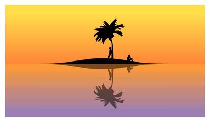 Uomo e donna su un isola deserta - vacanze solitarie