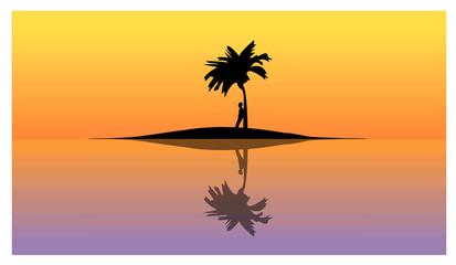 Uomo solo in un isola deserta