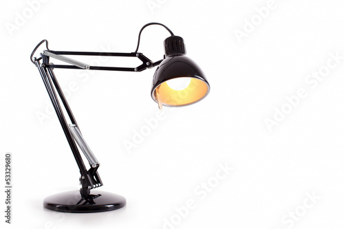 Vintage black desk lamp isolated on white - 53329680