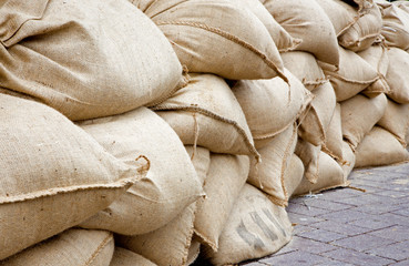 sand sack as barrier for high flood in Bratislava