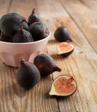 Fresh figs on the wooden table