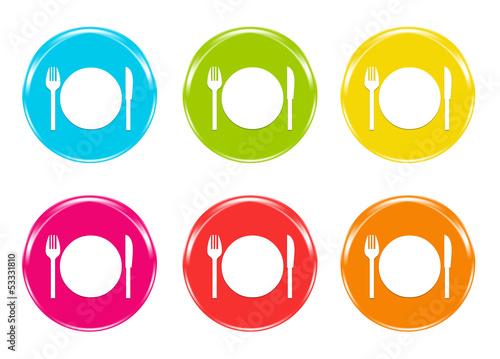 Iconos de colores con s mbolo de plato tenedor y cuchillo for Plato tenedor y cuchillo