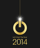 2014 golden power button christmas ball