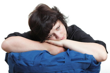 woman tired and shoulder bag isolated