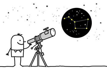 man & telescope