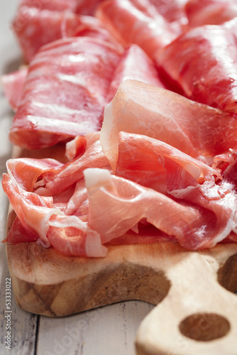 Platter of serrano jamon Cured Meat a