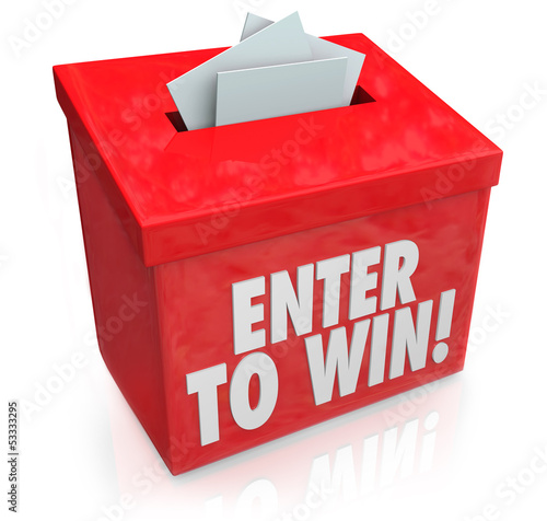 Enter to Win Red Raffle Lottery Box Entry Forms Tickets