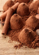 Composition of chocolate  truffles, cocoa and spices