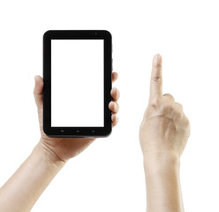 Hand holding android tablet like ipade screen space advert
