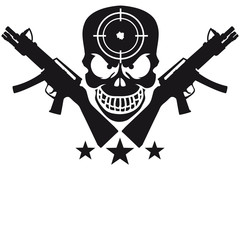 Assault Rifle Gun Skull Target Design