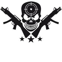 Assault Rifle Gun Skull Target Design