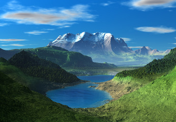 Mountain Fantasy Landscape - Computer Artwork