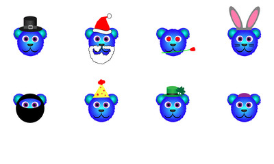 Blue Holiday Bear Icon Collection