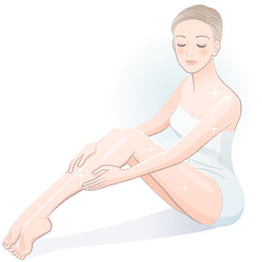 ビューティー エステ 女性 Beautiful spa woman sitting and touching legs