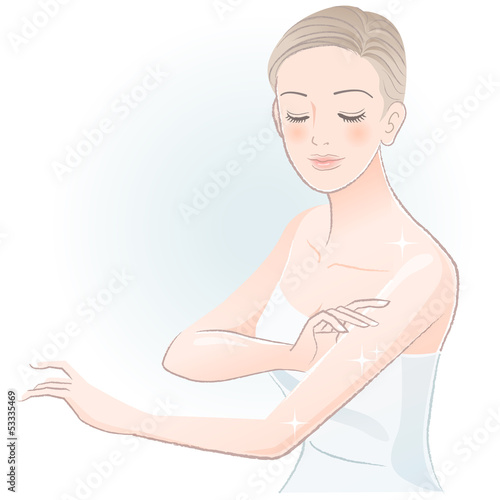 ボディケア 女性 Young spa woman gently touching arms