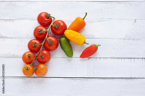 fresh organic tomatoes and peppers