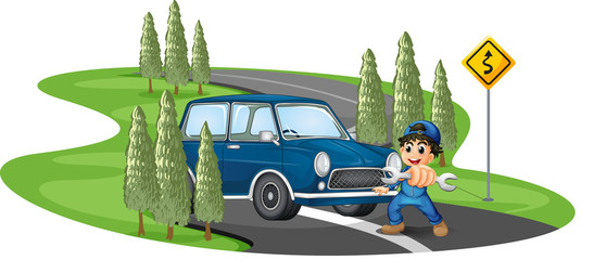 A curve road with a boy and a car