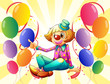 A female clown sitting surrounded with colorful balloons
