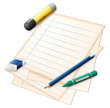 A paper with a pencil, a crayon, an eraser and a glue stick