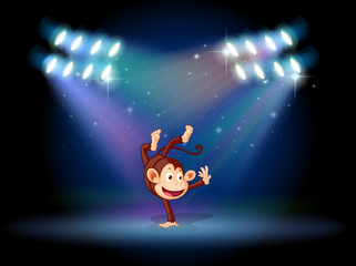 A monkey dancing at the center of the stage