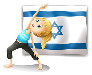 A girl performing yoga in front of the Israel flag
