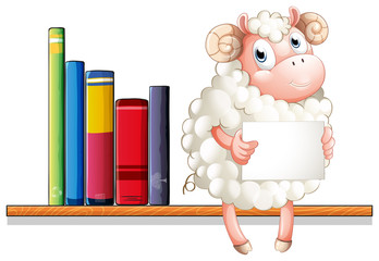 A sheep holding an empty signage sitting above the wooden shelf