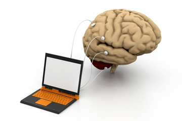 computer connected to a human brain.