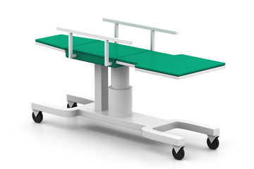Medical bed on a white background.
