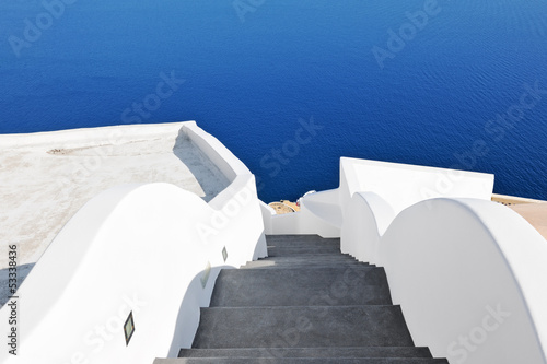 Stairway leading down the caldera in Oia