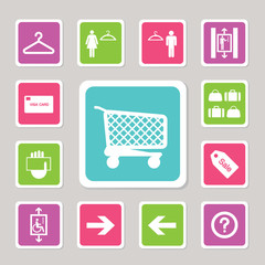 shopping mall icons set 2