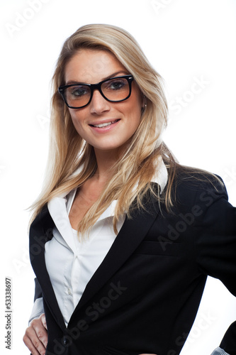 Gorgeous blond woman wearing glasses