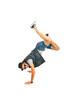 Break dancer with legs in the air