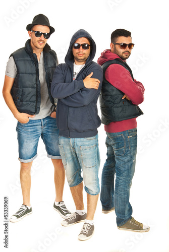 Group of three rappers boys