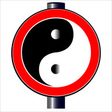 Yin Yang Road Sign.