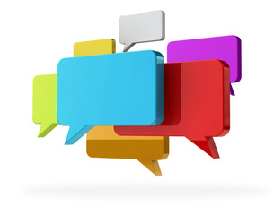 Cloud group of speech text bubbles rainbow colored