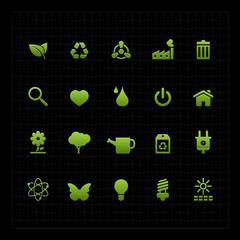 Green ECO icon set on dark background vector illustration