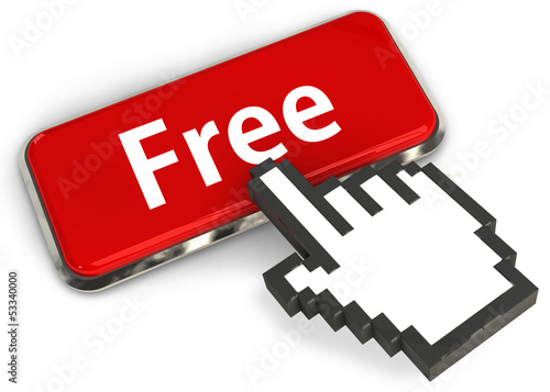 "3d button with the word ""Free"" and hand cursor"