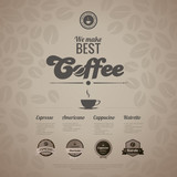 Fototapety Coffee menu poster vector design template in retro style