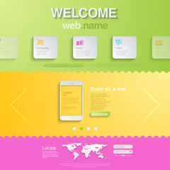 Website design template for mobile devices. HTML5 style