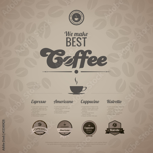 Coffee menu poster vector design template in retro style